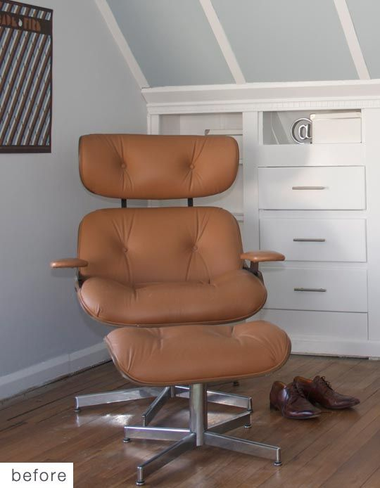 Before u0026 After Eames Recliner Replica Gets Reupholstered & Best 25+ Eames recliner ideas on Pinterest | Midcentury recliner ... islam-shia.org