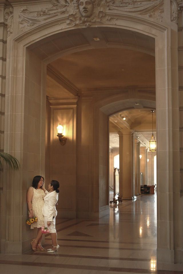On my very first day shooting gay weddings in San Francisco, I had the honor of photographing two boys and two girls back to back at San Francisco City Hall. #lesbianwedding #twobrides #sanFranciscowedding #sanFranciscocityhall #samesexphotographer www.rachellevinephoto.com