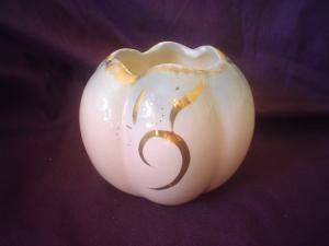 Pates pottery squat vase pretty pink glaze & gilt.