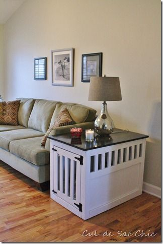 Dog Kennel End Table..i want one but a coffee table so there would be more room inside.