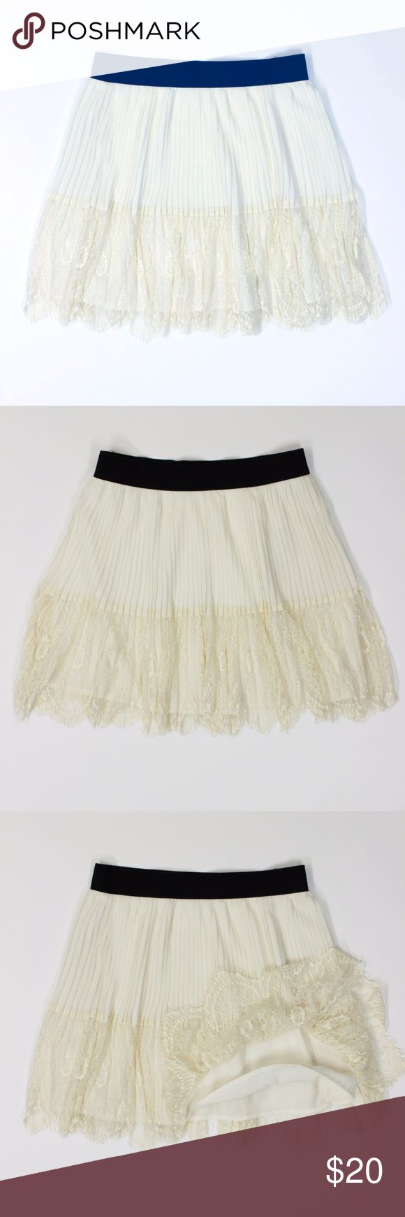 "NWOT Tier Knife Pleats Lace Ivory Flirty Skirt 721 Forever 21 Women's Ivory Knife Pleated A-Line Sheer Tiered Skirt, Lined, Elastic Waistband, Sheer Pleats, Soft Lace Size: S Small  Length: 16.25""  Condition: New without Tags. Excellent! Comes from a pet and smoke free environment!  Please review pictures and contact me if you have any questions. Color: Ivory Pattern: Lace Country: China Care: Dry Clean WT: 0.09 CSKU: 721; PC All measurements are approximate and taken laying flat…"
