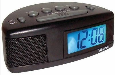 Westclox Digital LCD Alarm Clock Battery Operated Loud or Soft Adjustable Volume