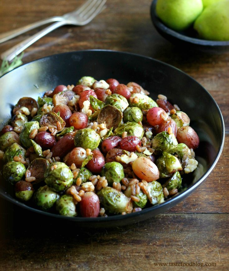 Thanksgiving Sides: Pomegranate Roasted Brussels Sprouts and Grapes with Walnuts…   – Food