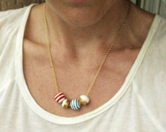 navy summer necklace, with red and blue stripes and hint of gold colour, beads hand formed and hand painted - Edit Listing - Etsy