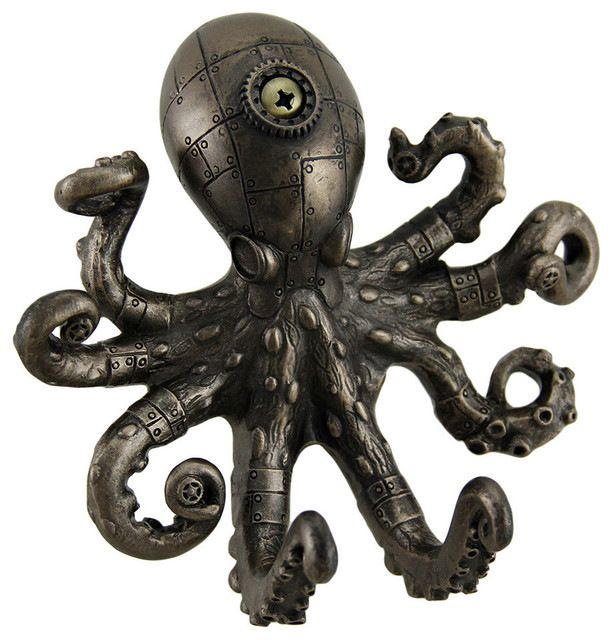 Antique-Style Octopus Wall Hook, Bronze beach-style-wall-hooks