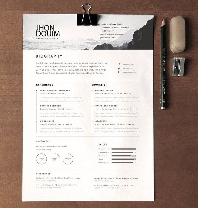clean realistic resume cv template psd