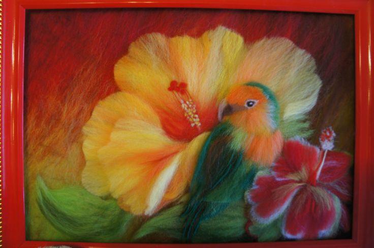 Попугай (рисование шерстью)