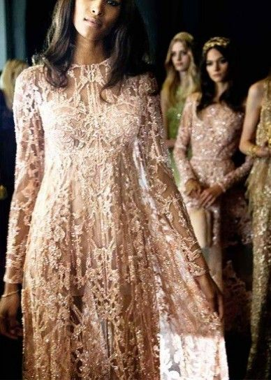 Abito da sposa Elie Saab 2016 in rosa - Modello ricamato a maniche lunghe dal catalogo sposa 2016