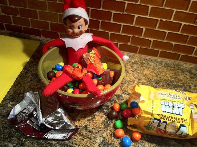 stealing snacks: Holiday Ideas, Christmas Elf, Shelves, Elf On Shelf, Shelf Ideas, Candy Bowl, Elf On The Shelf, Candy Binge