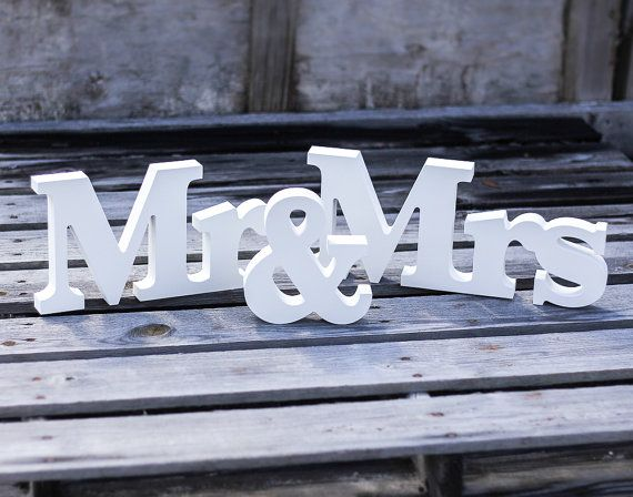 Mr and Mrs Wedding Signs for Sweetheart Table by ZCreateDesign, $38.00
