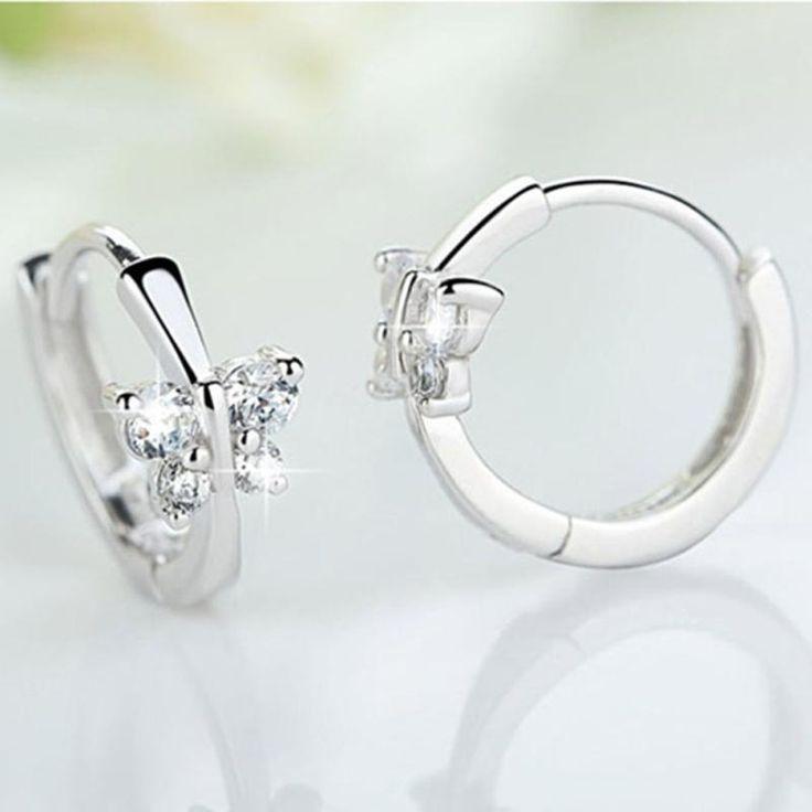 New Girls Huggies Crystal Small Hoop Earrings for Women Silver Plated Butterfly Cubic Zircon CZ Mini Cute Jewelry Accessories