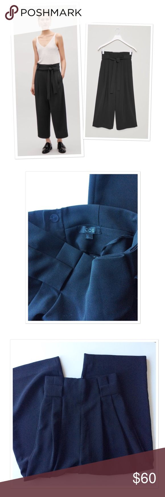 "Cos wide waist pleated trousers pants Cos wide waist pleated pants. Black. The pics turned out to be a bit bluish, but they are black. They come without the tie. I always used a belt wearing them. Pleated waist. Tunnel belt loops. Loose, fluid fabric. In-seam pockets. 92% polyester, 8% elastane. Worn a handful times and in a great condition. Inseam: 22"" (Culottes style), waist: 13"", rise: 15.2"" (dropped crotch) COS Pants"
