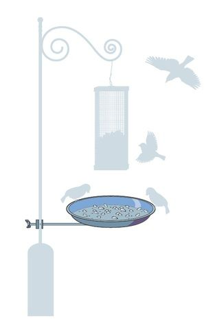 BSC   Easily centred under any bird feeder. Fits to any size pole the tray holder will clamp onto 3/4 inch or 1 inch poles. Easy maintenance. Durable and long lasting all parts are completely rust proof. Bird seed lasts twice as long saving you money. Attracts birds. Protects your lawn.  Made in Canada
