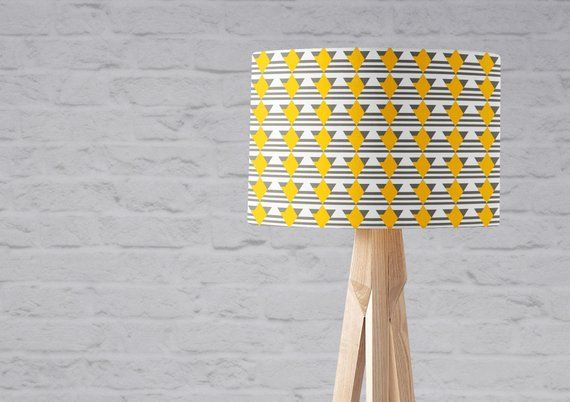 Grey Lampshade Grey And Yellow Lampshade Grey Yellow Geometric Grey And Yellow Nursery Grey Home Decor Art Deco Inspired Art Deco Home Grey Home Decor Art Deco Inspired Art Deco Home