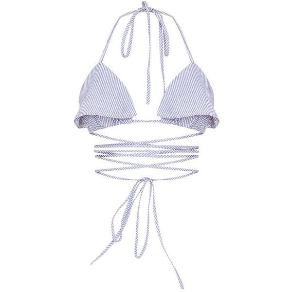 Zia Blue Stripe Bralet ($13) ❤ liked on Polyvore featuring tops, white bralette top, bralette tops, striped top, blue top and bralet tops