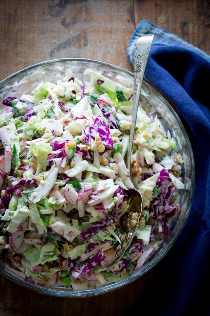 Creamy blue cheese and walnut coleslaw..yum! It has a little dill and peppery radishes. It is a delicious low carb and gluten free side dish to serve with beef or pork.
