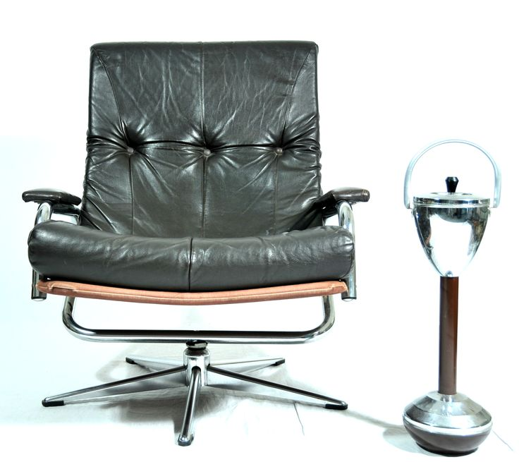 Very comfortable seventies leather lazy chair