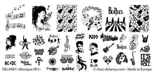 "Plaque Stamping nail art DELANEY ""Musique 001"""