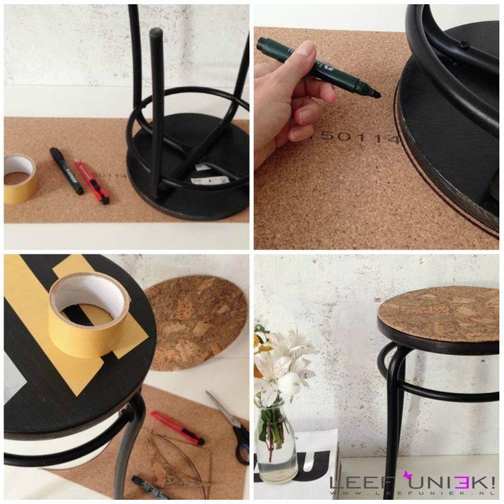 Leef Uniek   DIY   Kruk *Versier een krukje met kurk met deze leuke DIY tutorial*