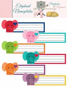 "FREE ELEPHANT NAMEPLATES Make your classroom ""enormously"" inviting with these elephant nameplates. 6 colors."