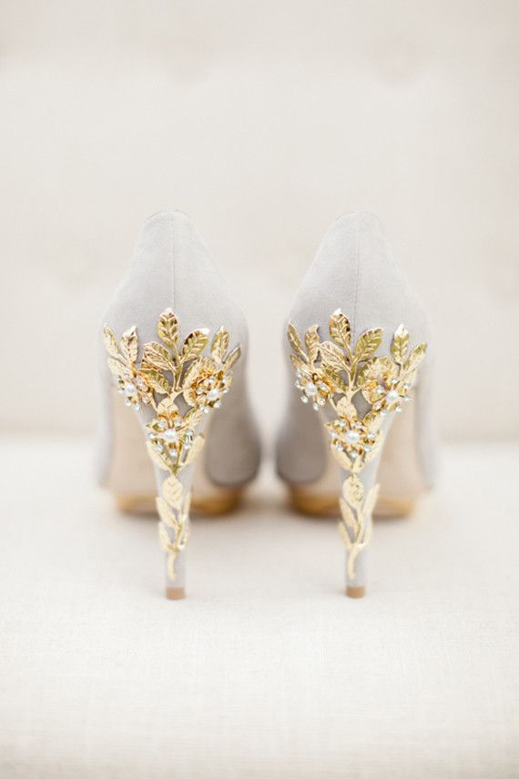 A touch of gold takes anything and makes it that much better, like these gold details on the heels of these wedding shoes