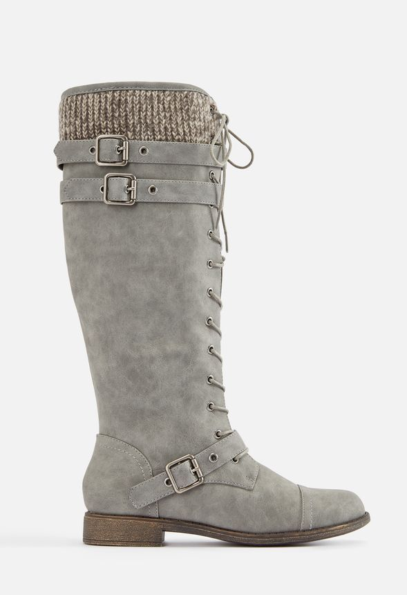 Delphinia Lace-Up Sweater Boot in Gray - Get great deals at JustFab ... 48083b565