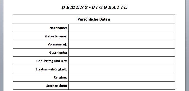 Vorlage Download Demenz Biografiebogen Word