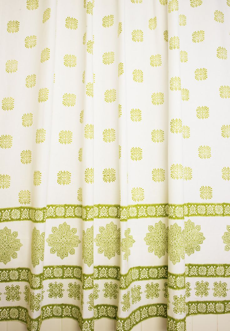 Cottage Shower Curtains - Olive Green Shower Curtain - Hand Block Printed from Attiser