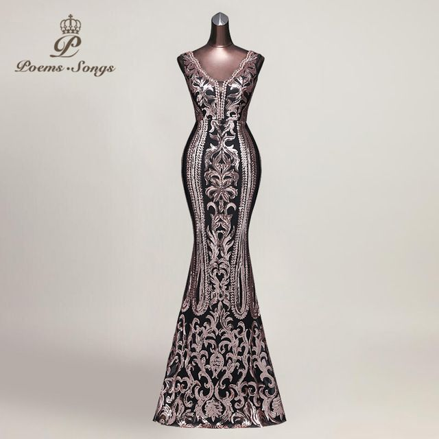 bc91da3a7fe Poems Songs 2018 Hot sale Evening Dress vestido de festa Sexy Backless  Luxury elegant Sequin formal