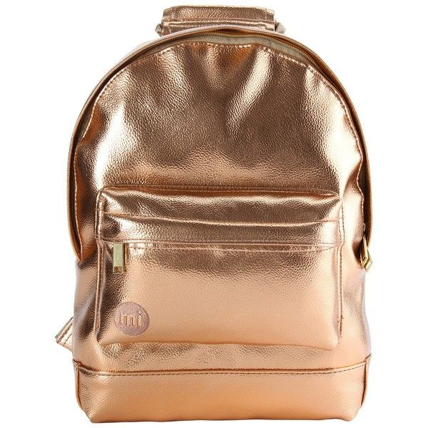 Mi-Pac Gold Metallic Mini Backpack, Rose Gold ($40) ❤ liked on Polyvore featuring bags, backpacks, metallic backpacks, embroidered backpacks, mini backpack, faux-leather backpacks and faux-leather bags
