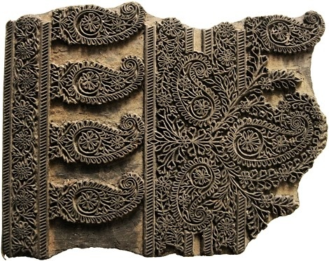Block print from India makes a great tool for finishing any surface.