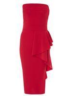 Womens *Quiz Red Crepe Bardot Midi Dress- Red