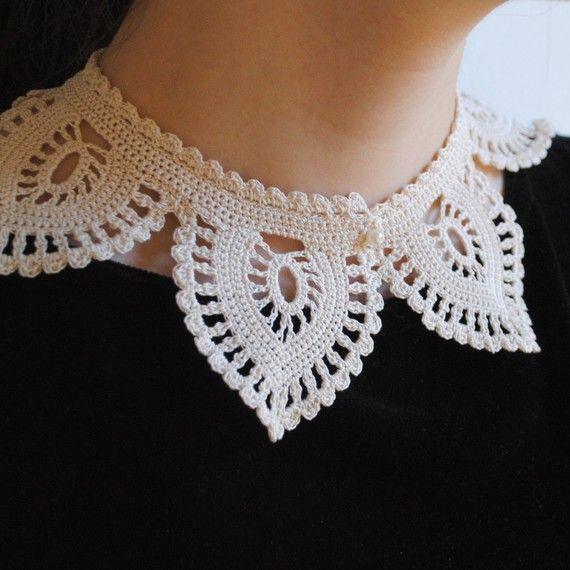 Crochet Lacelike Shirt Collar Ecru White Cotton Fashion by twoknit, $125.00