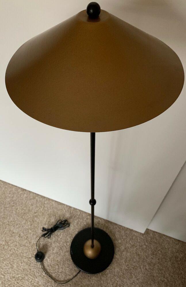 Vintage 80s Black Gold Metal Floor Lamp Post Modern Kovacs Sonneman Cymbal Shade Lamp Metal Floor Lamps Floor Lamp