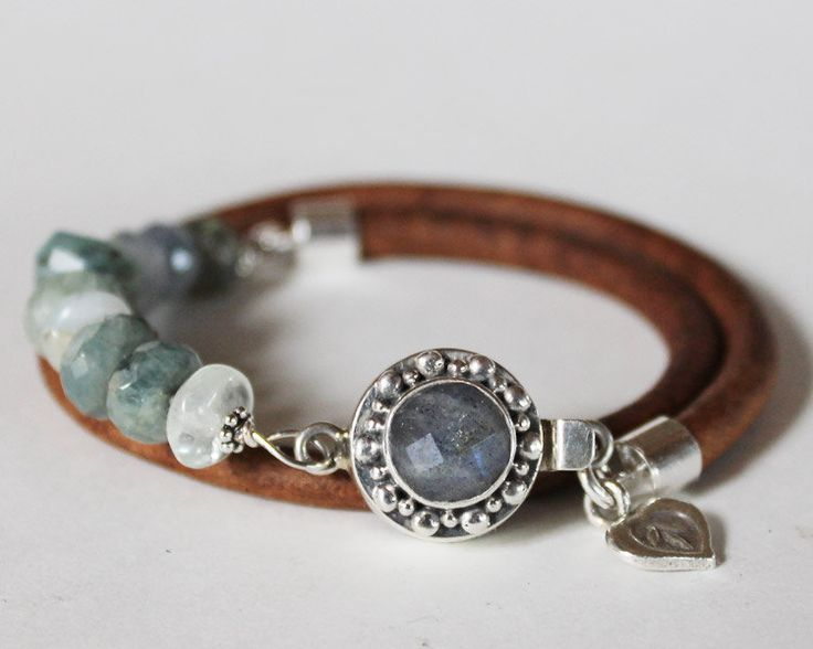 Beaded bracelet - labrodorite, aquamarine, blue opal, silver and leather artisan cuff bracelet,