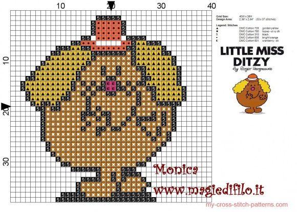 Little Miss Ditzy (Mr.Men) cross stitch pattern - free cross stitch patterns