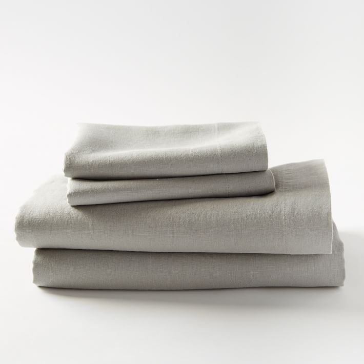 Belgian Linen Sheet Set, Queen, Platinum