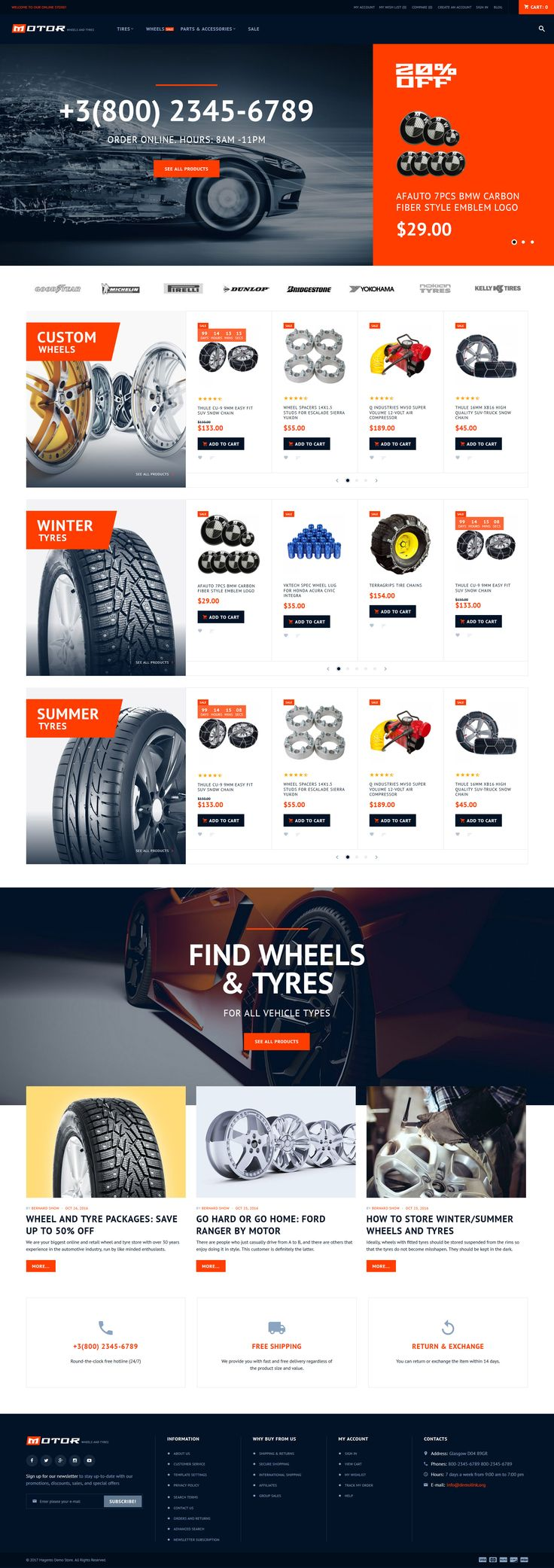 Meet Motor, a feature-rich Car Service Magento2 theme for online stores that specialize in selling tyres, wheels, and other car parts and accessories. The theme comes with a set of features that make a site more user-friendly and comfortable for purchases. #magento2 #magentotheme #magentowebsite #carservicewebsite #magentotemplate  https://www.templatemonster.com/magento-themes/motor-car-services-magento-theme-62281.html