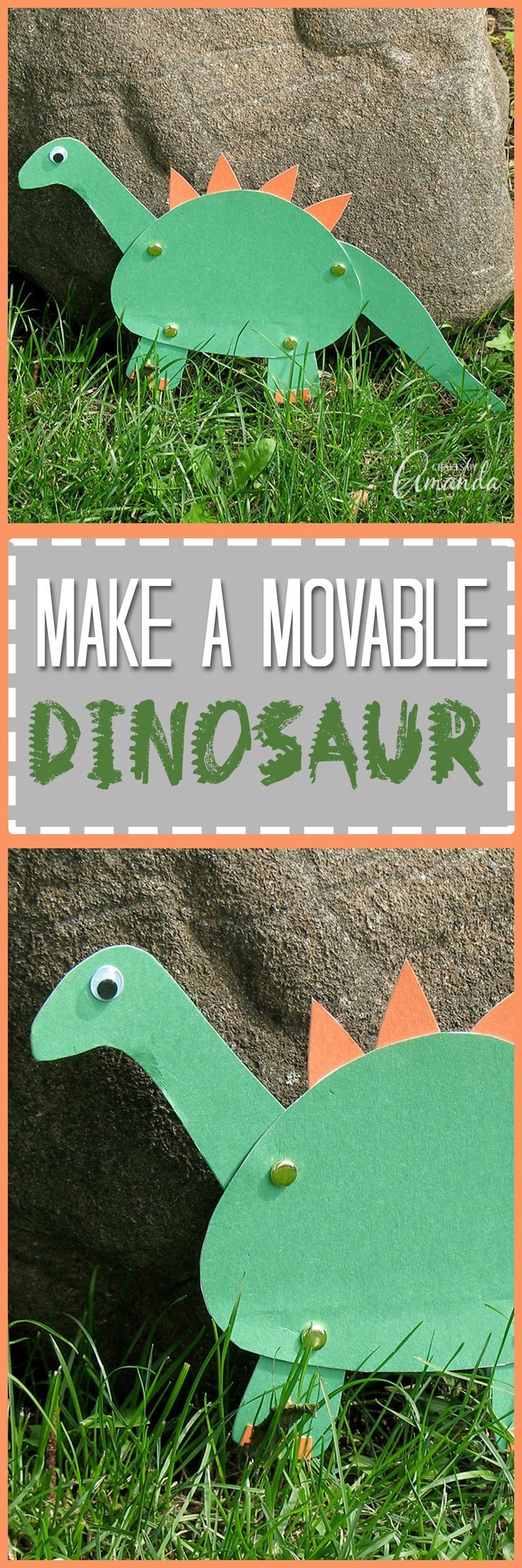 Engage your child in the prehistoric world with this easy paper dinosaur that comes to life. This movable dinosaur craft is perfect for boys & girls alike!