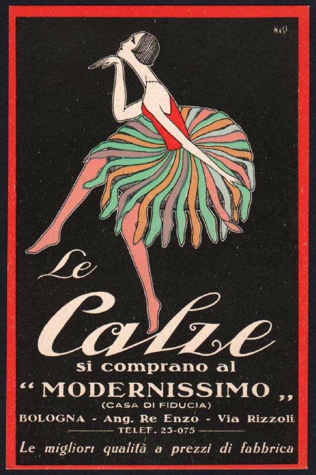 cartolina LE CALZE S I COMPRANO AL MODERNISSIMO-BOLOGNA illustr ...