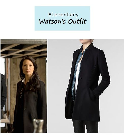 "November 13, 2013 @  11:54 pm Lucy Liu as Joan Watson in Elementary - ""The Marchioness"" (Ep. 207).  Watson's Coat:AllSaints Vita Wool Coat $490 here. More Elementary Style here. More outfits from Ep. 207 here. Source: CBS P.S. Updates on PINTEREST."