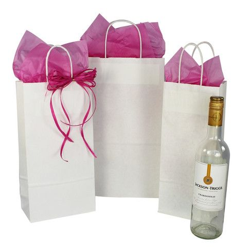 Bottle/Wine Paper Bag White Kraft - Twisted Paper Handles – B2BWraps.com