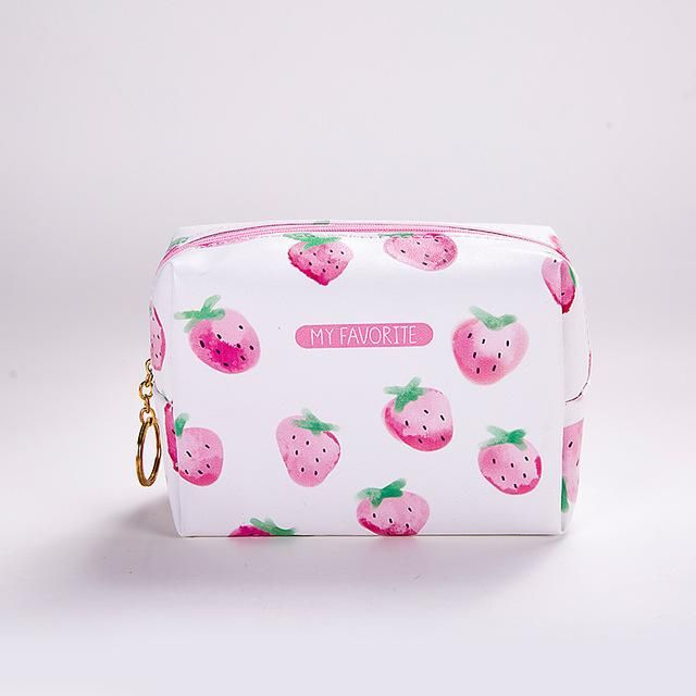 DUDINI Creative Lady Strawberry Cosmetic Bag Large Capacity Storage Bags Women Portable Leather Travel Toiletry Bag Make Up Bags