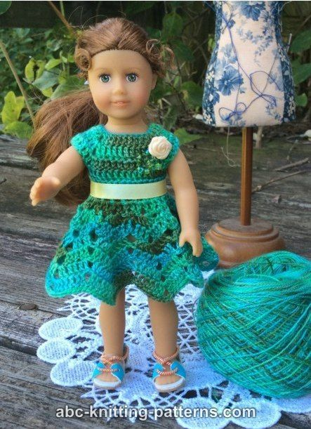 ABC Knitting Patterns - American Girl MINI Doll Chevron Dress