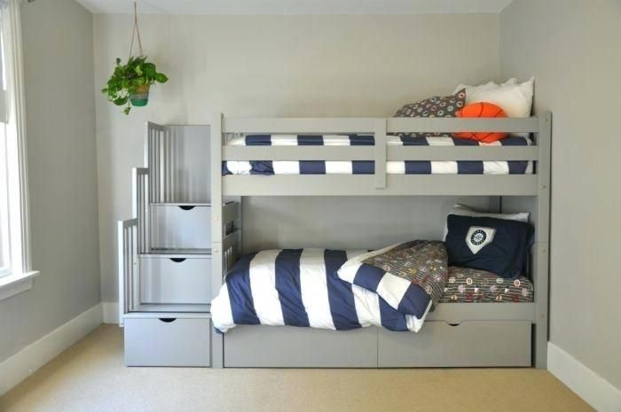 Double Loft Beds For Kids Awesome Kids Bunk Beds With Stairs Gray Bunk Beds With Stairs Storage Drawers And Und Bunk Beds For Boys Room Kid Beds Grey Bunk Beds