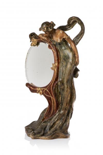 Friedrich GOLDSCHEIDER (1845 - 1897) - Miroir de table Art Nouveau en terre cuite [...], Art Nouveau - Art Déco - Design à Millon et Associés Paris | Auction.fr