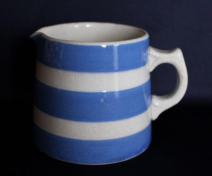 Vintage Aust Pottery FOWLER Milk Jug Creamy White Glazing & Blue Stripes No 2 #VINTAGE