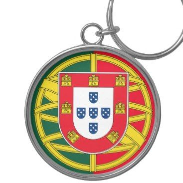 Portuguese flag quality Silver-Colored round keychain Zazzle_keychain