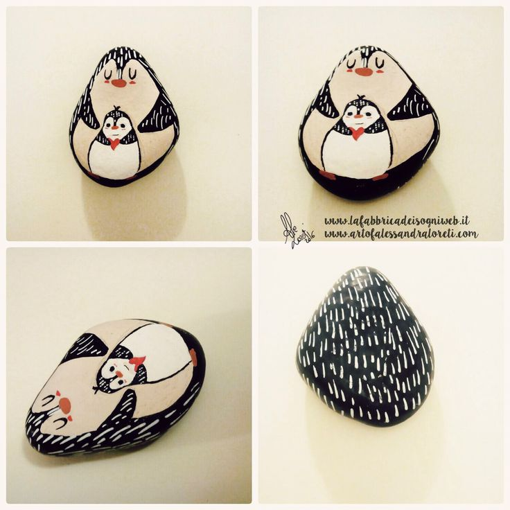 penguin painted on stone #penguin #penguins #painted #stone #cute #draw #drawing #love #son #mom #cutie #animal #animals #uniposca