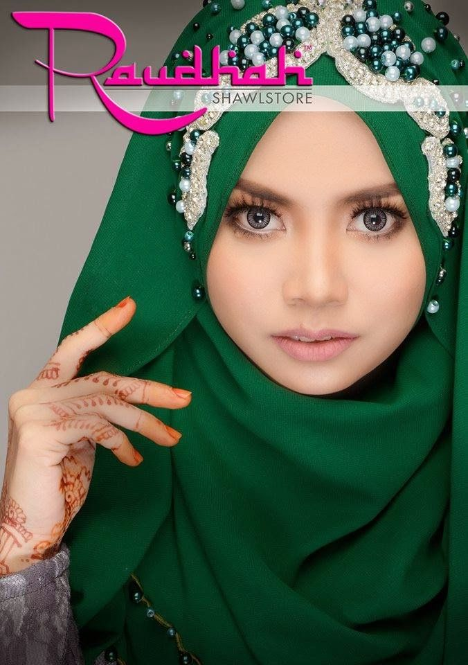 Wedding Hijab #darkgreen #garden #awesome #muslimwedding http://weddinghijab.blogspot.com/2015/02/set-qisha-daun-dark-green-beads-dark.html